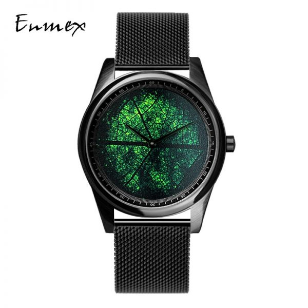 3D Leaf Vein Oil Painting Stainless Steel Fashion Watch