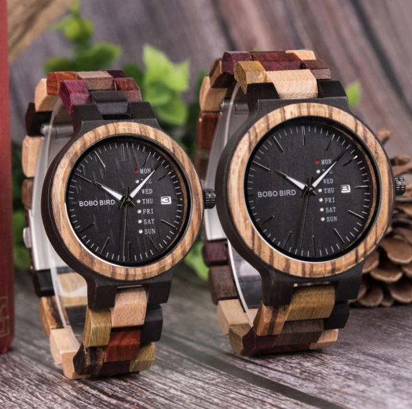 BOBO BIRD Lovers Day & Date Display Wooden Couple Watches