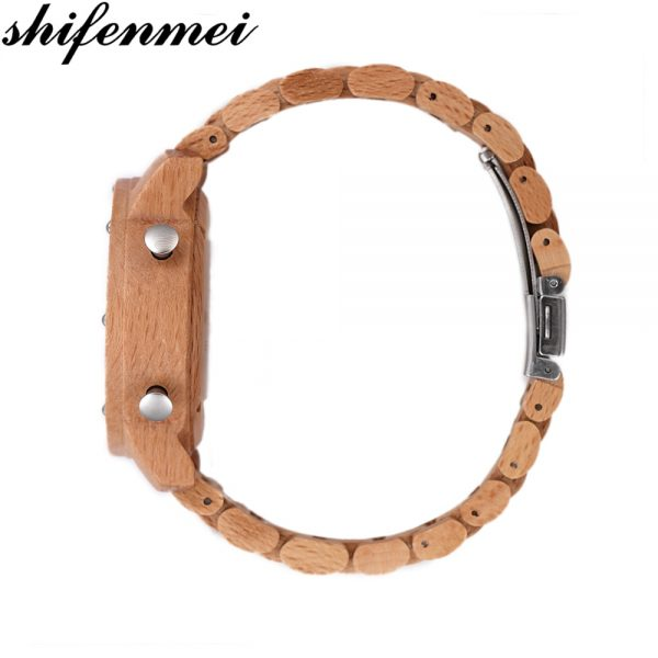 SHIFENMEI Retro Style Wooden Roller Watch