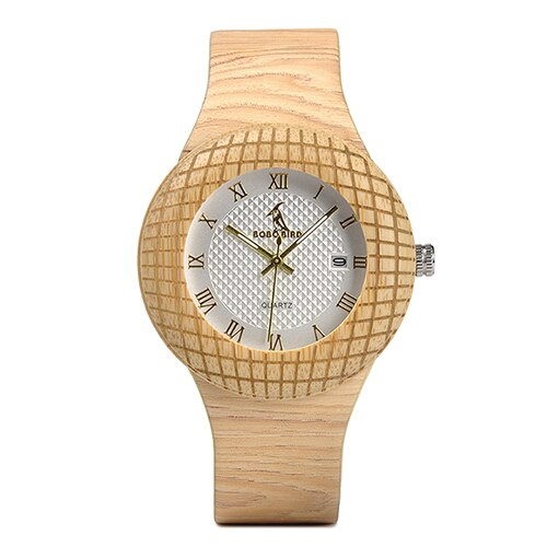 BOBO BIRD Etched Ladies Watch with Leather Strap