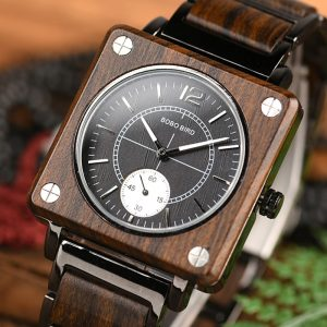 BOBO BIRD Men's Premium Wood-Topped Square Watch