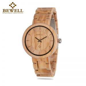BEWELL Ladies Slimline Wooden Bangle Watch