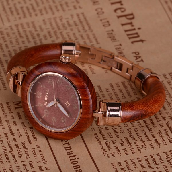 BEWELL Damen Slimline Holz Bangle Watch