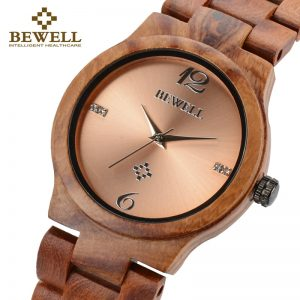 BEWELL Ladies Metallic Dial Wooden Watch