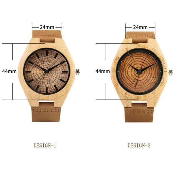 Wood Grain / Tree Rings Bamboo Wooden Watch with Leather Strap