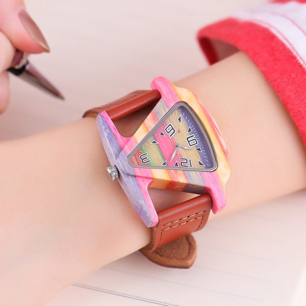 ALK Ladies Triangular Wooden Fashion Watch with Leather Strap