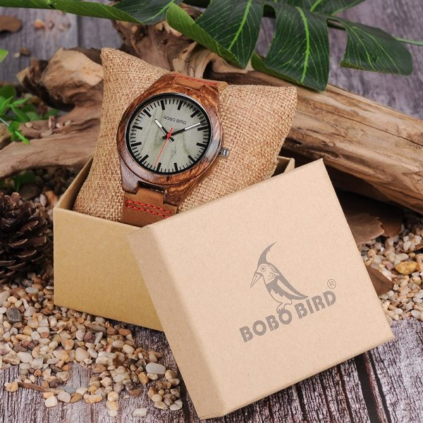 BOBO BIRD Men's Zebrawood and Resin Quartz Watch