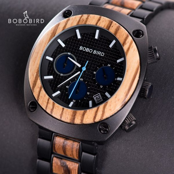 BOBO BIRD Mens Vintage Wood and Stainless Steel Chronograph Watch