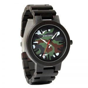 BOBO BIRD Fashion Army Camouflage Men's Wood Watch