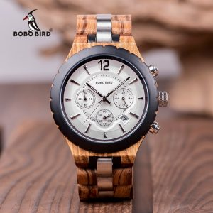 BOBO BIRD Men's Wood Military Style Chronograph Watch