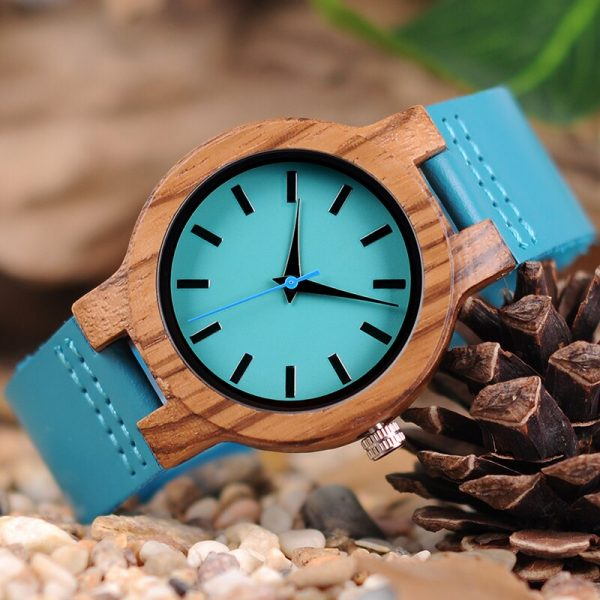 BOBO BIRD Lovers Indigo Blue Zebrawood Couple Watches