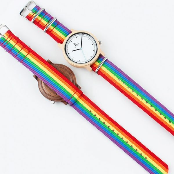 ALK Pride Rainbow Canvas Strap Wooden Watch