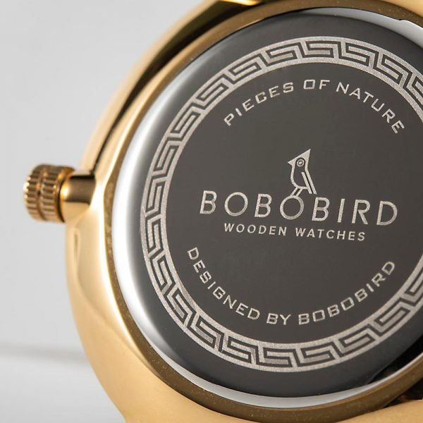 BOBO BIRD Ladies Slimline Wood Inlaid Watch with Leather Strap