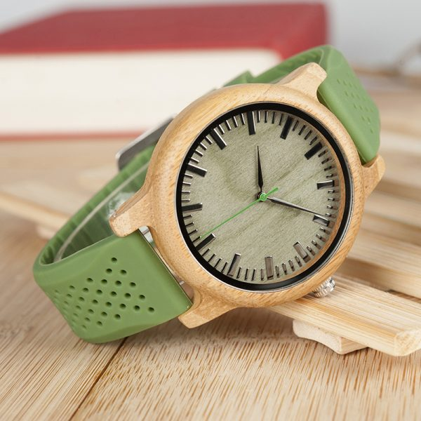 BOBO BIRD Unisex Bamboo Wood Watch with Silicone Straps
