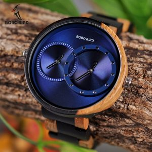 BOBO BIRD Fashion Dual Time Zone Wooden Watch
