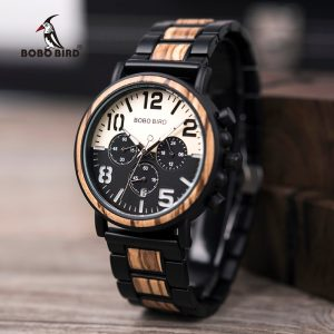 BOBO BIRD Men's Retro Wood & Stainless Steel Chronograph Watch