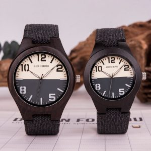 BOBO BIRD Lovers Rustic Couple Wood Watches with Canvas Strap