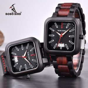 BOBO BIRD Men's Luxury Black & Red Square Wooden Watch