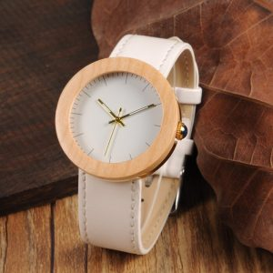 BOBO BIRD Ladies Bamboo & Stainless Wood Watch with Leather Strap